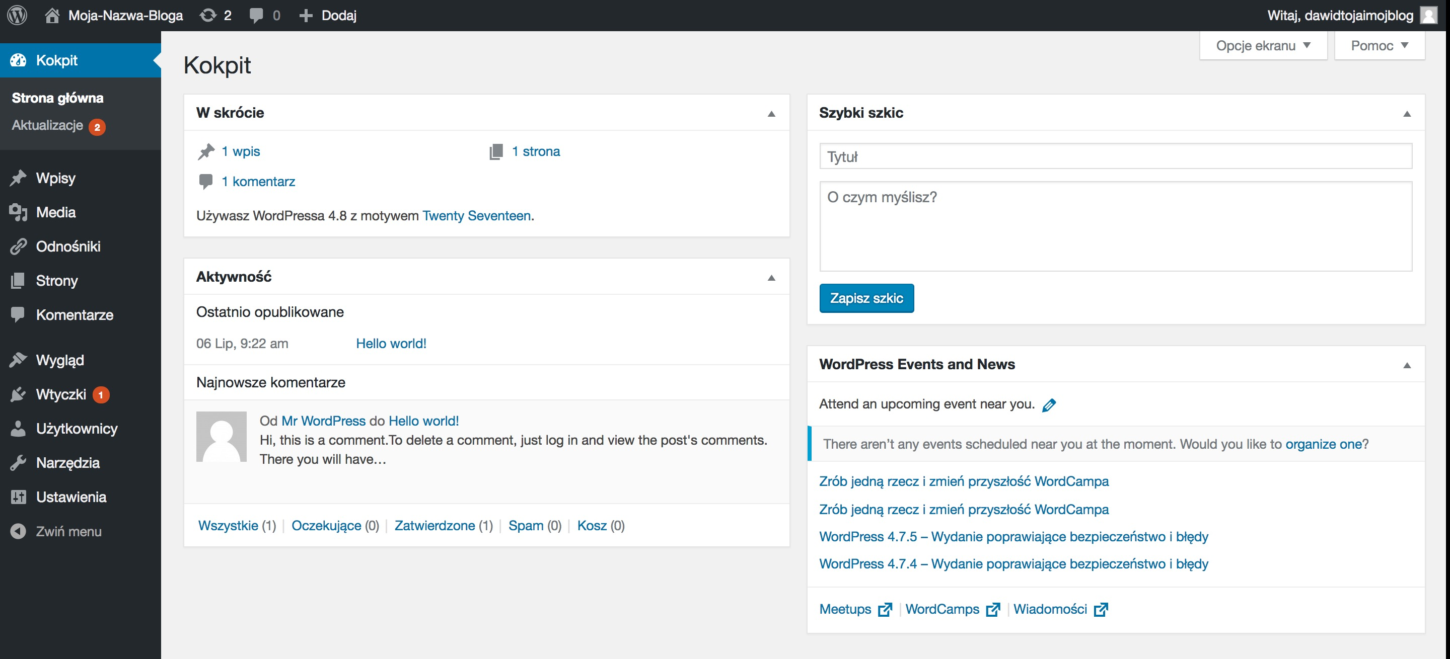 WordPress-Kokpit-Dashboard-screenshot