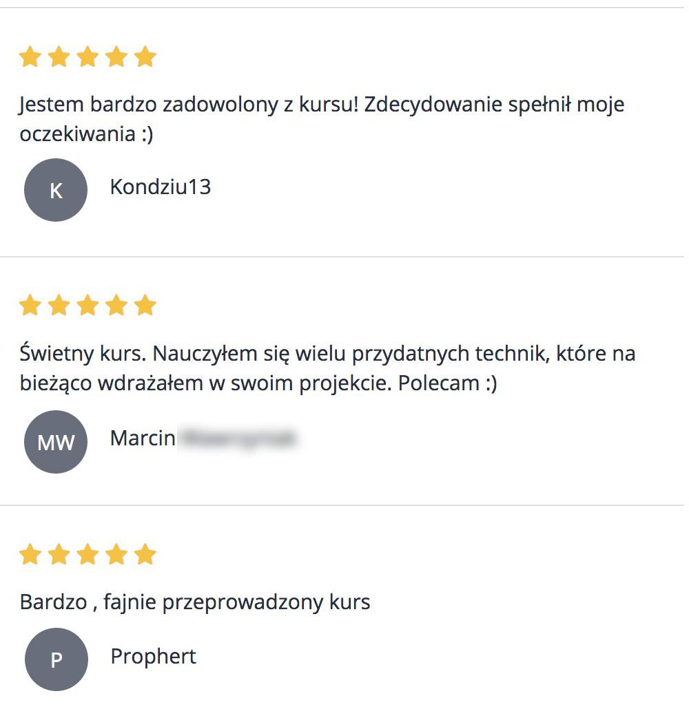 Opinie uczestników kursu WordPress